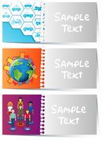 Modèles de cartes avec des motifs infographiques
