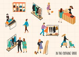 Clothing store. Vectpr illustration with characters.