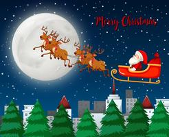 Feliz navidad santa trineo con reno
