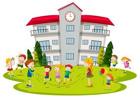 Crianças, tocando, em, escola