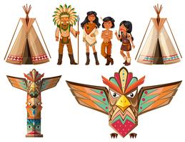 Native american indians and tepee