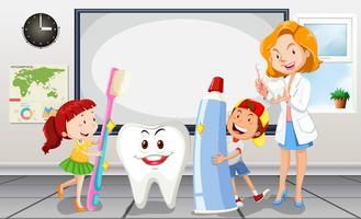 Kinderen en tandarts in de kamer