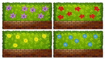 Fence design with bush and bricks