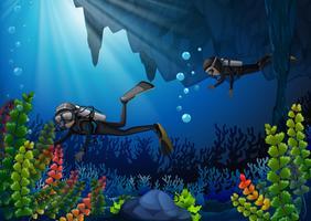 Dois, mergulhadores scuba, submarinas