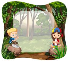 Boy and girl in the jungle