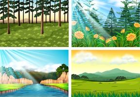 Four background scenes of forest and river