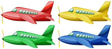 Airplanes in four different colors