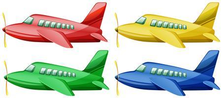 Flygplan i fyra olika färger