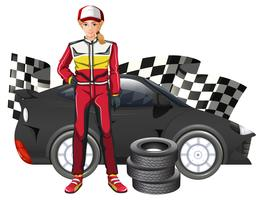 Female formula one driver and car vector