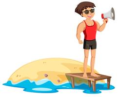 Een goede badmeester naast de kust