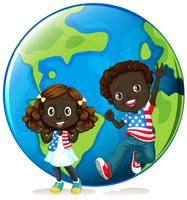 African american kids on earth vector