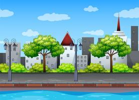 Szene mit Gebäuden entlang des Kanals