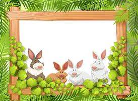 Cute rabbit on wooden frame