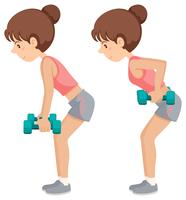Garota fazendo exercícios de braço ponderado