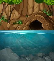 Cena de paisagem de caverna subaquática
