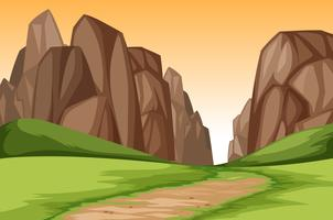 Sunset canyon landscape scene vector
