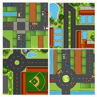Conjunto de vistas aéreas da estrada