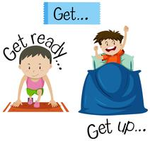 Wordcard for get ready and get up