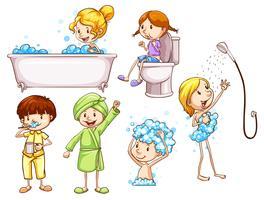 Enkla färgade skisser av personer som tar ett bad