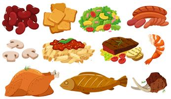 Different types of food and ingredients