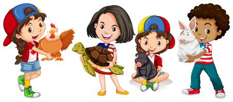 Children with domestic animals vector