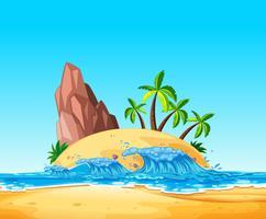 Uma ilha tropical e onda