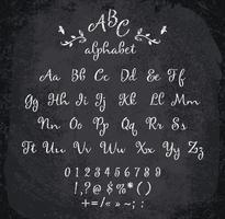 Vektorillustration des mit Kreide versehenen Alphabetes.