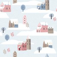 Christmas and Happy New Year seamless pattern whit winter landscape.