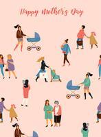 Bonne fête des mères. Illustration vectorielle avec les femmes et les enfants