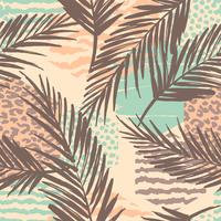 Abstract seamless pattern with animal print, tropical plants and geometric shapes.