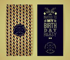 Happy birthday invitation, vintage retro background with geometr