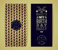 Invitación de feliz cumpleaños, fondo retro vintage con geometr