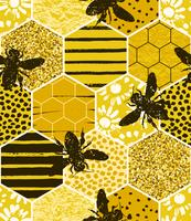 Seamless geometric pattern with bee. Modern abstract honey design.