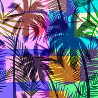 Modèle exotique sans couture avec palmier tropical sur fond géométrique de couleur vive.