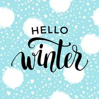 Winter lettering design on snow background.