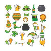 Éléments dessinés à la main mignonne sur le thème de la Saint Patrick