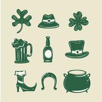 Set of 9 design elements on Saint Patrick's Day theme grunge style