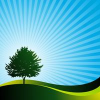 vector landsape with tree and bids on blue background