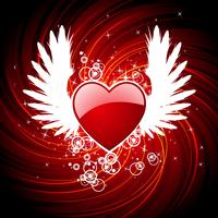 De dagillustratie van de valentijnskaart met hart en vleugels.