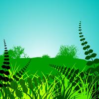 spring landscape with green floral ornamental motives vector