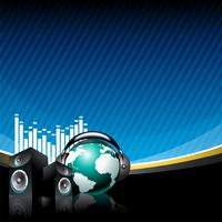 music illustration with speaker and globe with headphone on blue background