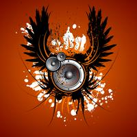 vector music illustration with wing and speaker