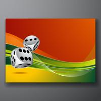 casino illustration with two dice on color background