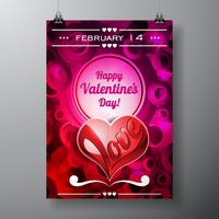 Valentines Day illustration with text space and love heart