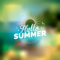 Summer holiday theme on blurred background.