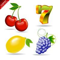 casino series with cherry, seven symbol, lemon and grape. vector