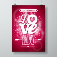 Valentines Day illustration with Love typography design on shiny background.
