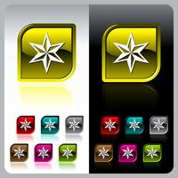 Shiny color button set on black background.