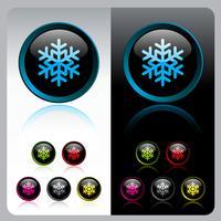Conjunto de botão de floco de neve brilhante.