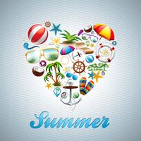 Love Heart Summer Holiday design set on wave background.